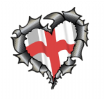 Ripped Torn Metal Heart Carbon Fibre with England English Flag Motif External Car Sticker 105x100mm